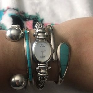 Sterling silver watch with onyx
